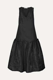 Pleated taffeta maxi dress