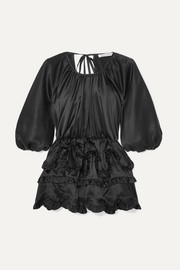 Open-back ruffled silk-satin blouse