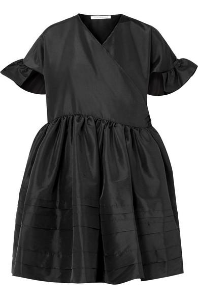 CECILIE BAHNSEN PRISCA PLEATED SATIN WRAP DRESS
