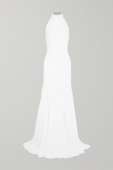 White Stretch-crepe halterneck gown | Stella McCartney rF0WWS
