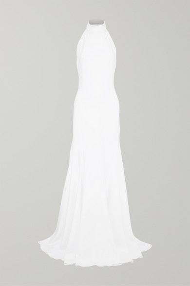 Magnolia Halter Lace Trumpet Gown in White
