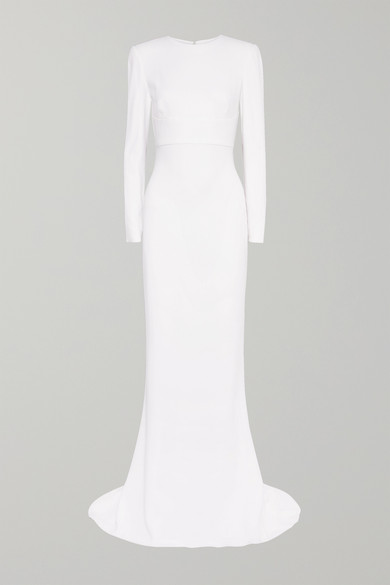 Open-Back Stretch-Crepe Gown in White