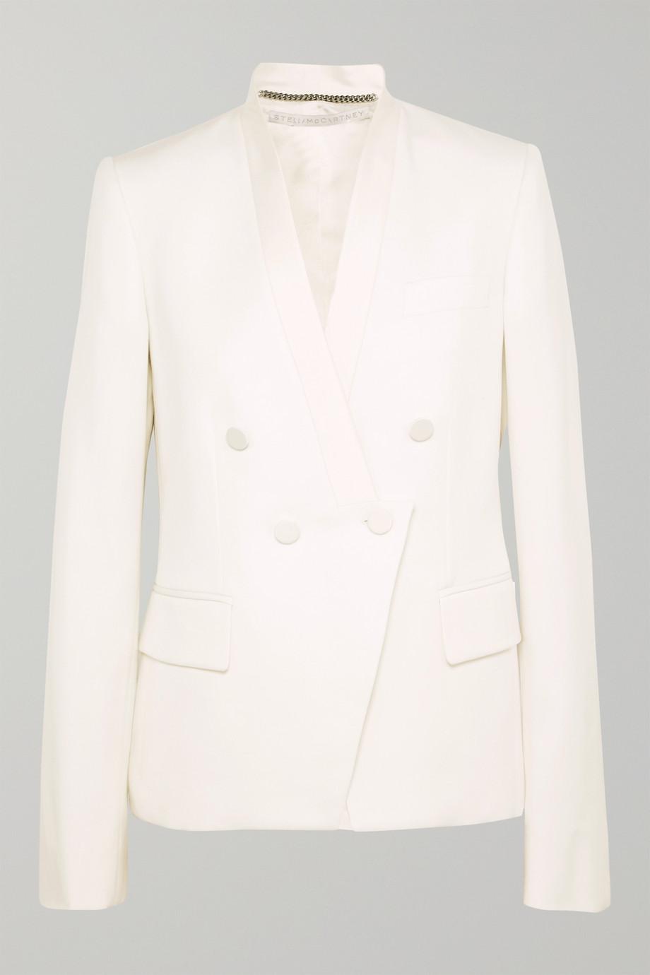 Stella McCartney Satin-trimmed grain de poudre wool blazer