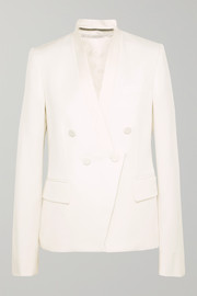 Stella McCartney Satin-trimmed grain de poudre wool blazer