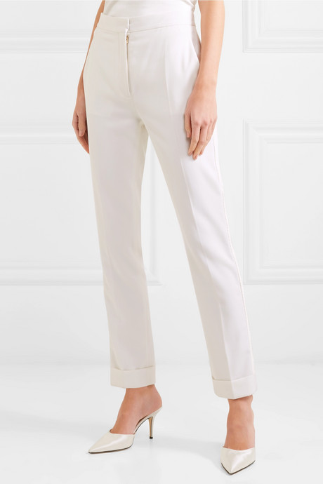 Satin-trimmed grain de poudre wool pants
