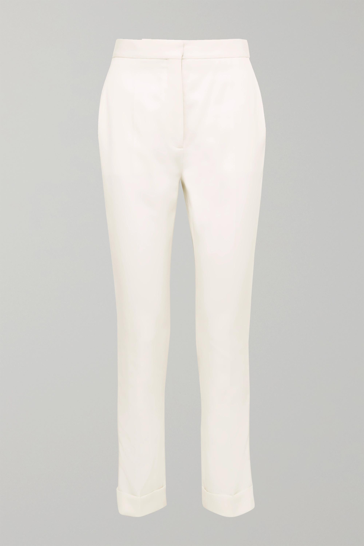 Stella McCartney Satin-trimmed grain de poudre wool pants