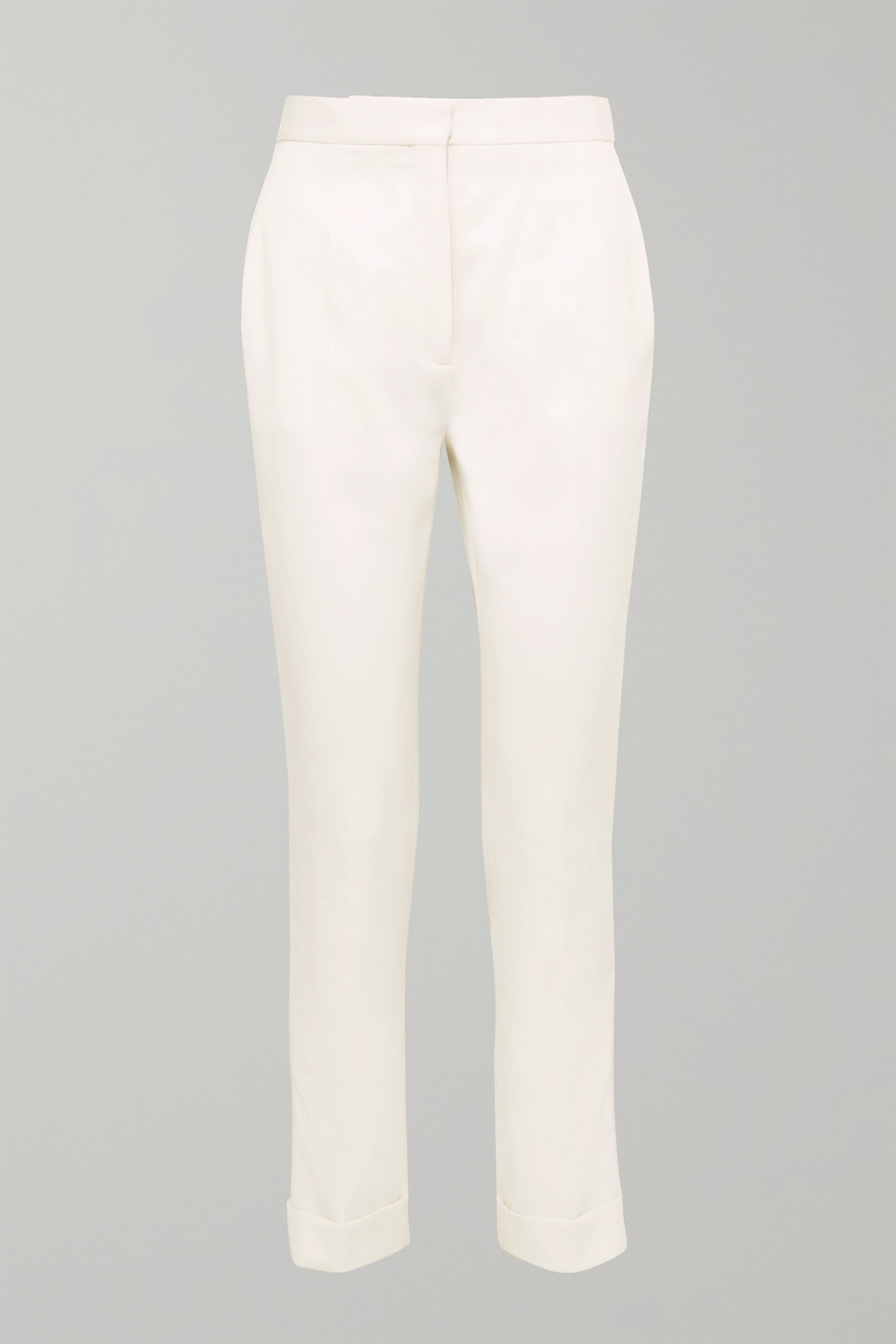 Stella McCartney Satin-trimmed grain de poudre wool pants