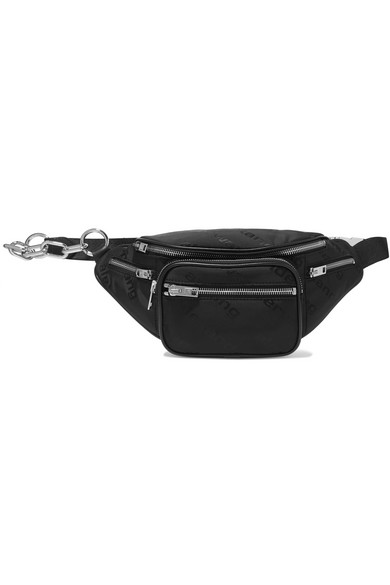 a4e653ee98d Attica leather-trimmed shell-jacquard belt bag