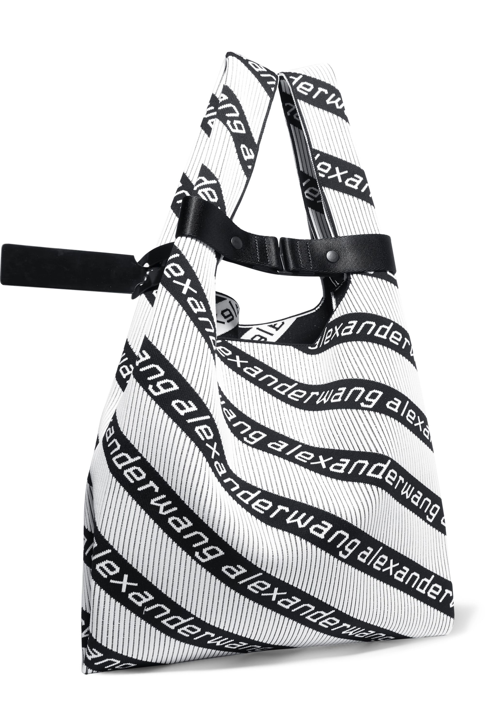 Alexander Wang Patent-leather-trimmed jacquard-knit tote