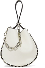 Roxy studded two-tone textured-leather bucket bag