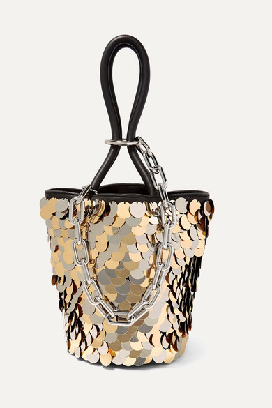 Roxy Mini Paillette-Embellished Leather Bucket Bag in Gold