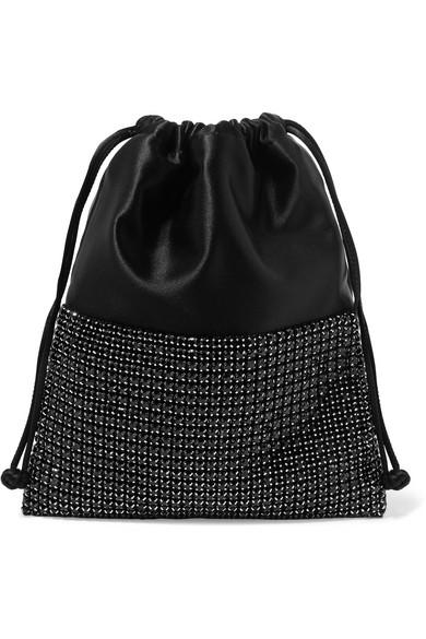 Ryan Mini Crystal-Embellished Satin Bucket Bag in Black