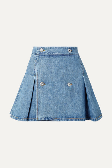 Matthew Adams Dolan Skirts PLEATED DENIM MINI SKIRT