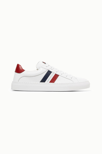 Moncler White Sneakers With Blue And Red Details