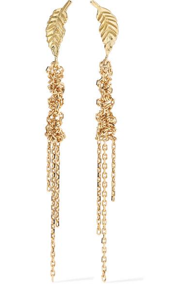 BROOKE GREGSON Waterfall Leaf 18-Karat Gold Earrings