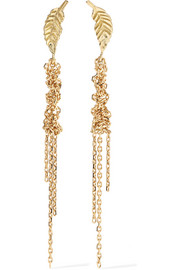 Waterfall Leaf 18-karat gold earrings