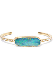 18-karat gold, opal and diamond cuff