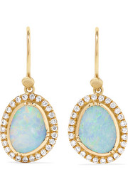 Galaxy 18-karat gold, opal and diamond earrings