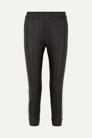Striped leather track pants