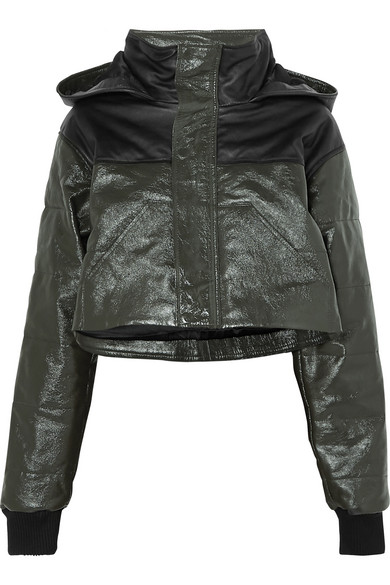 Cropped Two Tone Quilted Leather Jacket by Sprwmn