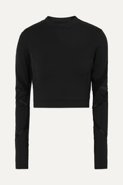 Cropped cutout stretch-jersey top