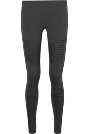 Moto mesh-paneled stretch leggings
