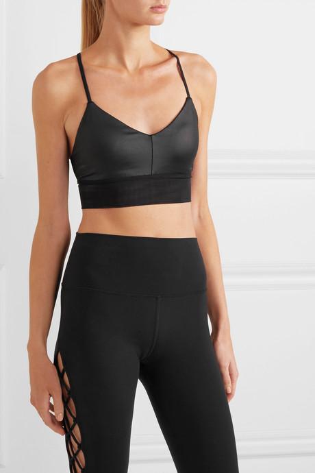 Lush mesh-trimmed stretch sports bra