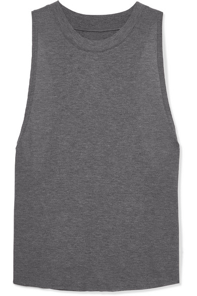 ALO YOGA | Alo Yoga - Heat Wave Ribbed Jersey Tank - Gray | Goxip