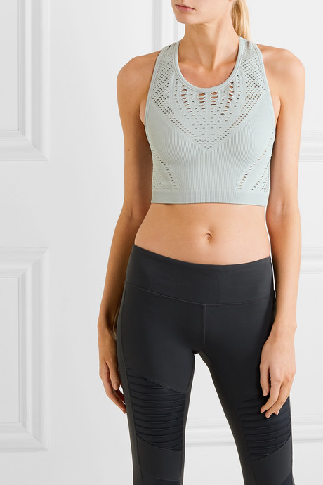 Lark mesh-trimmed ribbed stretch-knit sports bra