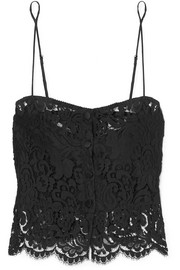 Silk-trimmed cotton-blend guipure lace camisole