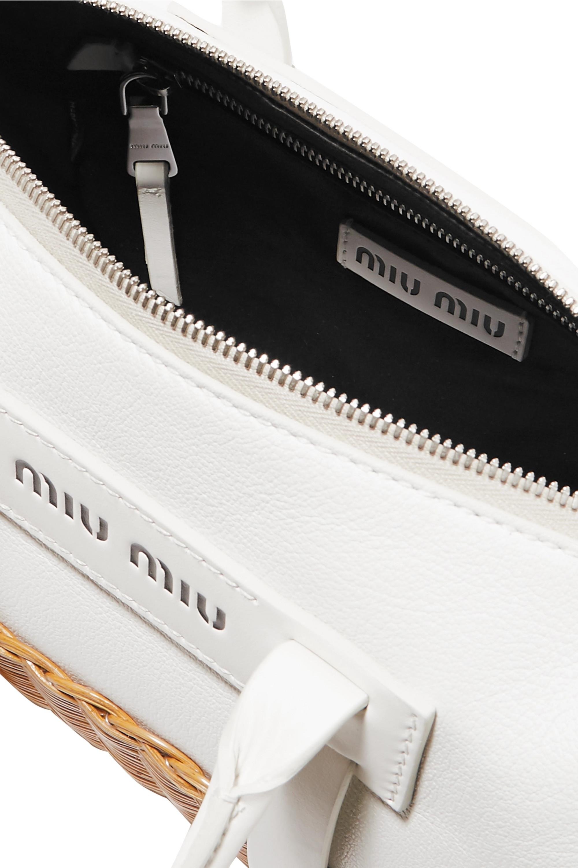 Miu Miu Textured-leather and rattan tote