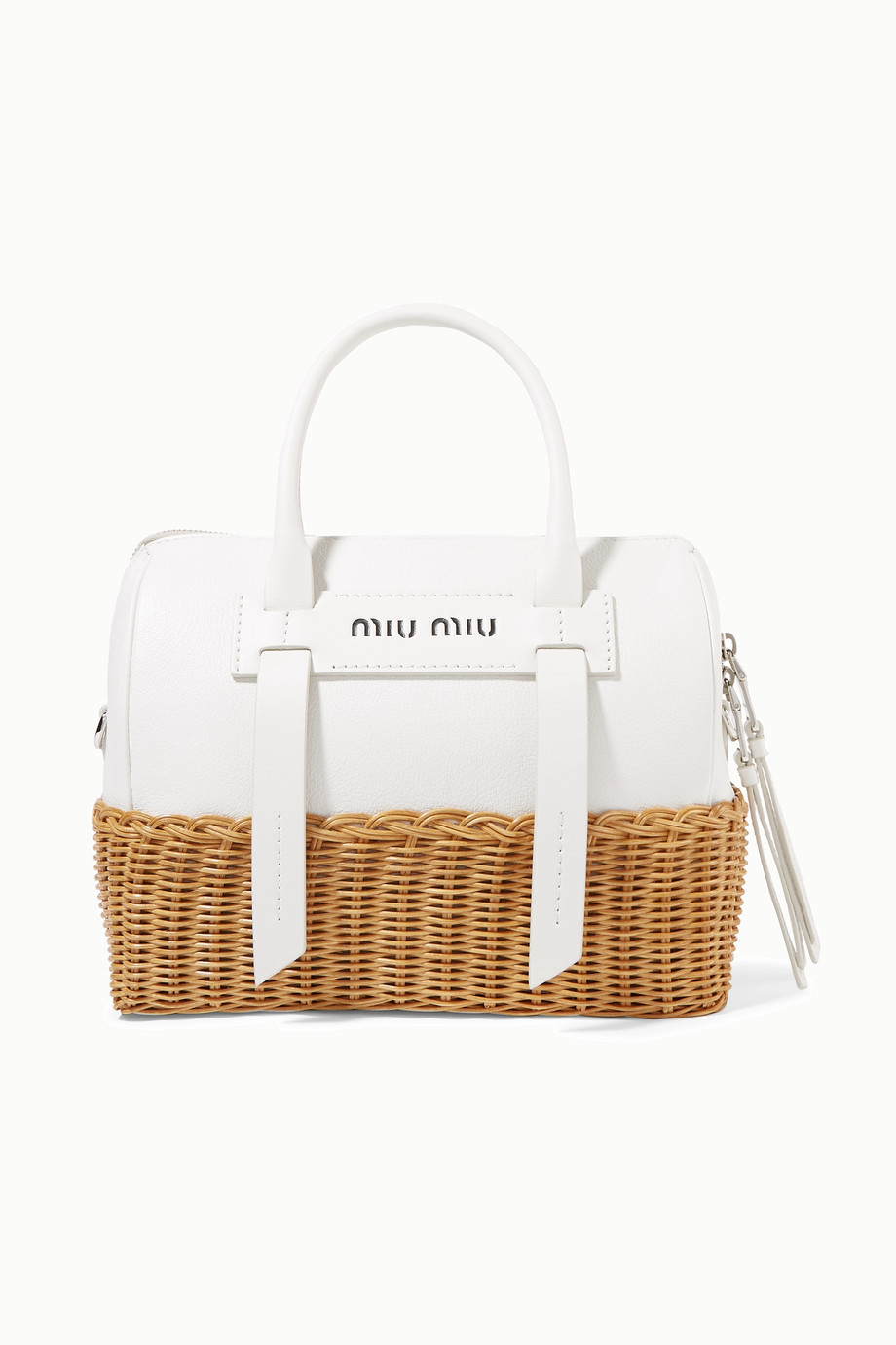 Miu Miu Textured-leather and rattan tote
