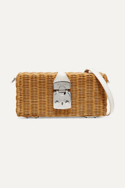 Miu Miu Midollino rattan and leather shoulder bag