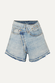 R13 Denim wrap shorts