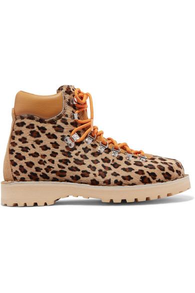 Roccia Vet Leopard-Print Calf Hair Ankle Boots in Leopard Print