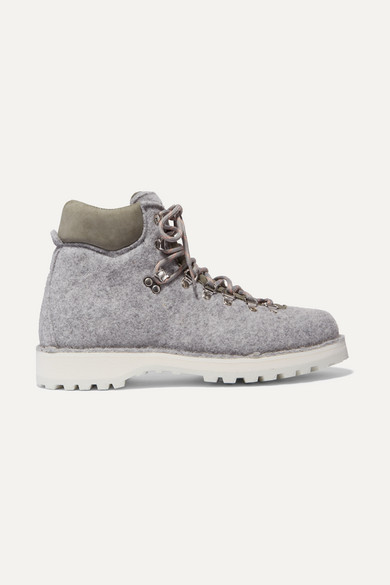 Roccia Vet Suede-Trimmed Felt Ankle Boots in Gray