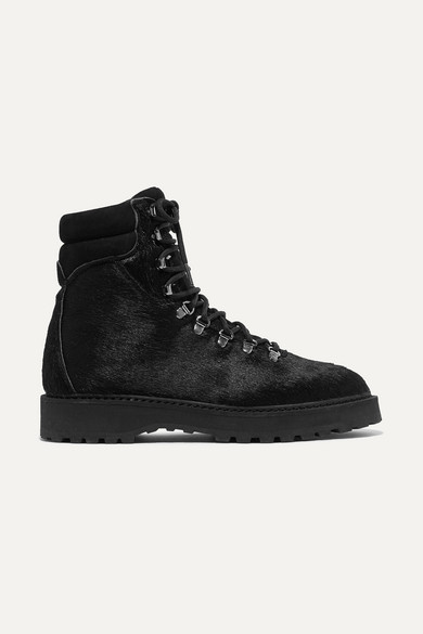 Monfumo Calf Hair Ankle Boots in Black