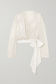 Jenny Packham Penelope satin-trimmed sequined silk-chiffon wrap blouse