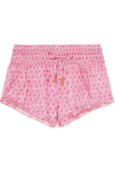 PALOMA BLUE   Paloma Blue - Paloma Ruffled Printed Shirred Silk-satin Shorts - Pink   Goxip