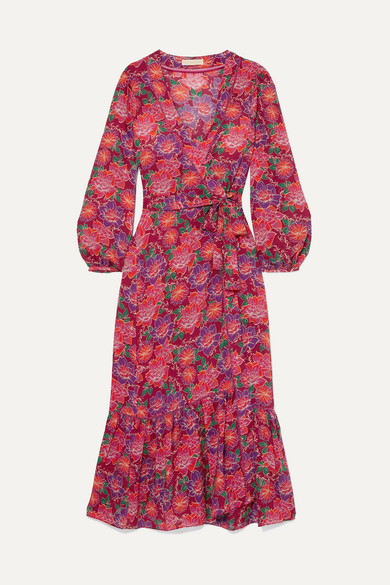 PALOMA BLUE Bowie Floral-Print Crepe De Chine Maxi Dress in Red