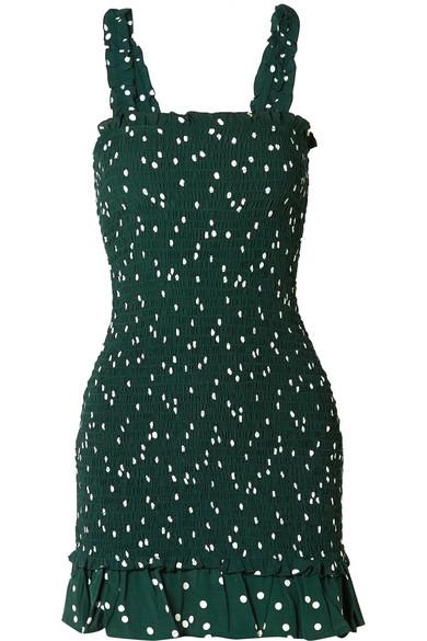 Del Mar Smocked Polka-Dot Crepe Mini Dress in Dark Green