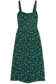 Faithfull The Brand Gizele cutout polka-dot crepe midi dress