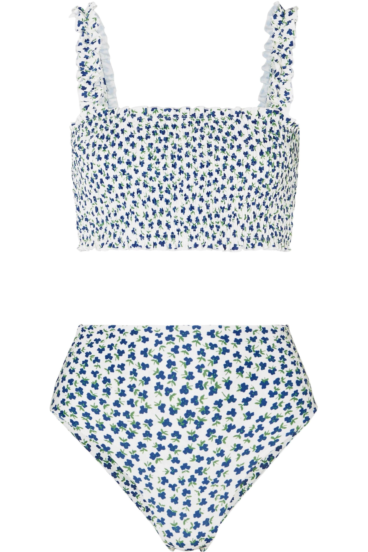 Faithfull The Brand Holly and Chiara shirred floral-print bikini