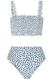Faithfull The Brand Holly and Chiara shirred floral-print bikini
