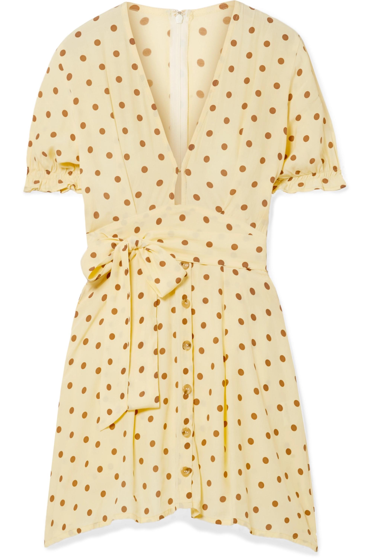 Faithfull The Brand Vanelli tie-detailed polka-dot crepe mini dress