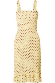 Faithfull The Brand Nadine ruffled smocked polka-dot crepe midi dress