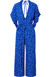 Faithfull The Brand La Villa tie-detailed ruffled floral-print crepe jumpsuit