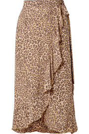 Faithfull The Brand Celeste ruffled leopard-print crepe wrap skirt