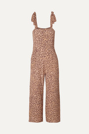 Faithfull The Brand Elsa cropped leopard-print crepe jumpsuit