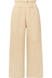 Faithfull The Brand Varadero cropped linen wide-leg pants